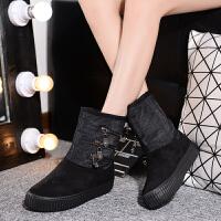 雪地靴女短筒女士短靴冬季新款潮拉链中长筒加绒厚底棉鞋女鞋