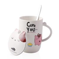 马克杯 男女创意卡通个性可爱陶瓷家用水杯带盖勺情侣杯咖啡杯儿童杯茶杯牛奶杯家居日用品