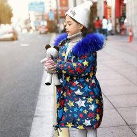 女童羽绒服中长款儿童女大童2018新款韩版洋气童装小孩冬装
