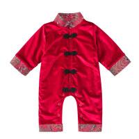 婴儿满月百天抓周连体衣中国风红色新年礼服男女宝宝周岁唐装秋冬 酒红色