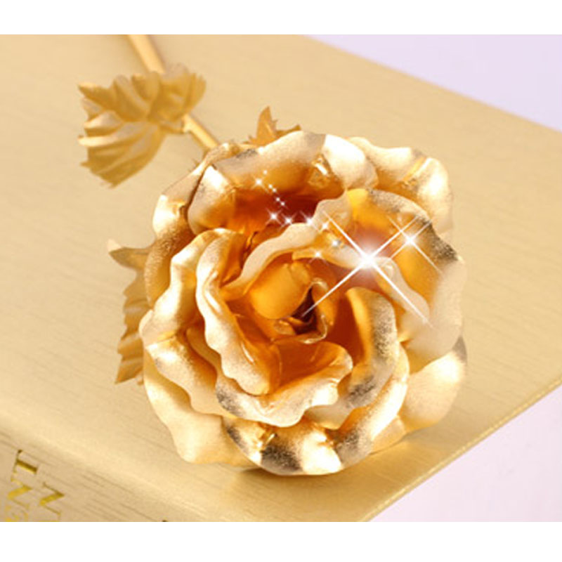 金玫瑰生日创意情人节礼物送女友老婆 金玫瑰花 24K金箔玫瑰花 +人造水晶花瓶+刻字