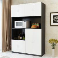 环保餐边柜客厅储物柜现代美式橱柜餐厅厨房柜子简约微波炉柜碗柜 环保颗粒板E款(8门 黑+白色) 其他