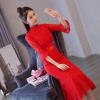 2018新款敬酒服2018新款回门服新娘秋冬季韩版长袖结婚旗袍改良红色连衣裙 红色
