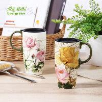 爱屋格林欧式马克杯情侣对杯陶瓷带盖大容量简约咖啡杯礼盒装