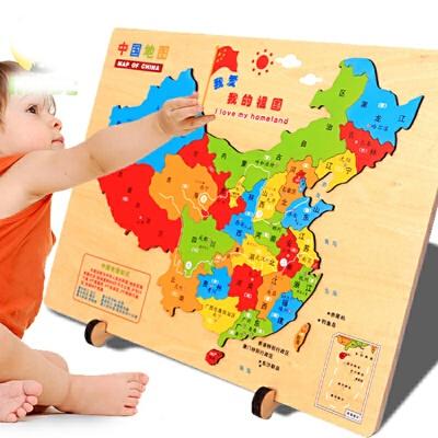 儿童蒙氏早教玩具3-6-8岁宝宝中国世界地图拼图木质初中学生 中国地图
