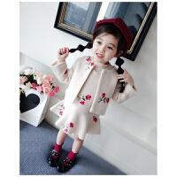 女童洋气呢大衣两件套秋冬韩版女宝宝外套套装中小童上衣+背心裙 米色花朵呢套装