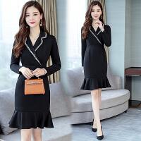 2018秋季新款女装韩版气质中长款包臀连衣裙女时尚修身显瘦鱼尾裙