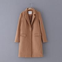 752 冬季新款翻领纯色显瘦长袖女式休闲外套毛呢大衣