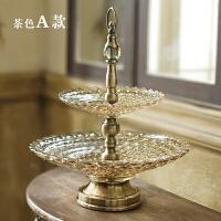 大号欧式玻璃水晶现代果盘双层客厅水果盘家用简约创意茶几多功能