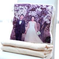 创意DIY定制照片抱枕靠枕垫暖手抱枕被子两用