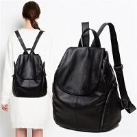 新款真皮双肩包女两用时尚休闲防盗女士背包妈咪包旅游包潮 黑色(专柜品质)