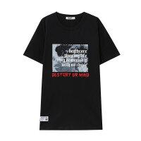 【1件3折到手价:29.7】美特斯邦威短袖T恤男潮流圆领夏季哥特风烟雾背景文字印花纯棉t恤