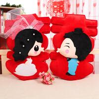 新款抱枕靠垫礼品婚庆公仔压床娃娃婚纱双喜结婚用品 红色