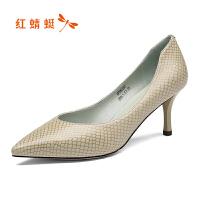红蜻蜓女鞋2019新款真皮浅口单鞋高跟鞋女细跟职场工作鞋