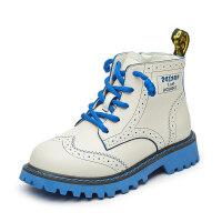 【活动价:126】儿童靴子2019冬季新款英伦风加绒男童马丁靴真皮时尚休闲女童短靴