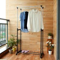 【领券】ORZ 阳台伸缩晾衣架 落地折叠双杆室内外挂衣架 可移动晒被架