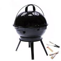 户外便捷木炭烧烤炉 美式焖烤碳烧烤架子 圆形家用3到5人BBQ烤肉 亮光黑()