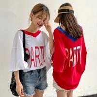 bf风字母T恤女短袖夏季新款韩版学院风宽松v领中长款半袖上衣学生