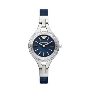 Armani阿玛尼满天星防水蓝色小表盘手表女 简约镶钻石英表AR7330