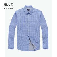 youngor/雅戈尔 新品 BN15064HJA男士休闲加厚蓝色格子保暖长袖衬衣