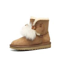 【现货】】香港直邮UGG女士休闲雪地靴1018517皮毛一体新款毛球蝴蝶结短筒靴