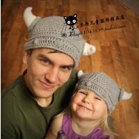 黑人范范同款儿童牛角帽 维京海盗宝宝帽 手工帽 毛线帽亲子帽