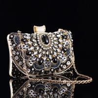 女包水晶钻石方形手拿包名媛晚宴包旗袍手抓包 黑色