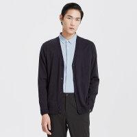 【1件2折到手价:93.2】MECITY男装春季韩版羊毛开衫纯色时尚V领针织毛衣
