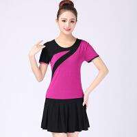 2018广场舞服装新款套装夏季运动跳舞衣服舞蹈裙子短裙套装 紫红色 配黑裙