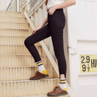 【2件2.5折到手价:24.75】美特斯邦威休闲裤女黑色显瘦外穿打底裤开叉裤脚小脚裤学生铅笔裤