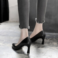 工作鞋女黑色中跟��I面�上班舒�m正�b皮鞋尖�^高跟鞋女粗跟�涡�
