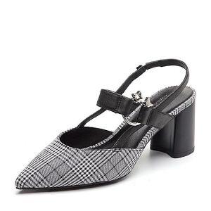 BASTO/百思图2018夏季专柜同款格子布/牛皮革粗跟尖头女凉鞋RCA08BH8
