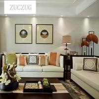 ZUCZUG新中式沙发现代简约小户型客厅实木布艺沙发茶几组合样板房售楼处沙发