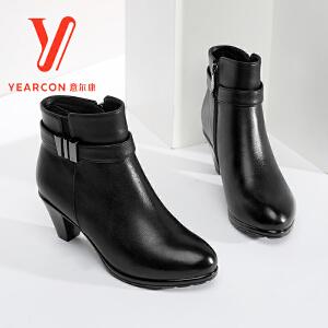 意尔康女靴2017冬季新款真皮高跟踝靴圆头加绒短筒靴女
