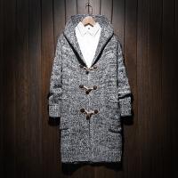 中长款风衣男士春季连帽针织大衣加肥加大码男子潮胖薄毛线衣披风 灰色 加扣