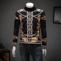 秋季新款男士修身打底2018冬季金丝绒印长袖T恤加绒加厚男 黑色