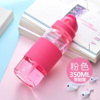玻璃带吸管创意便携水杯学生儿童水杯