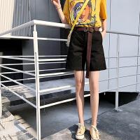 短裤女夏阔腿裤五分裤女夏裤子2018新款女韩版大码宽松高腰休闲