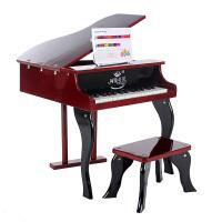 儿童小钢琴30键木制儿童钢琴木质钢琴入门练习用机械发音钢琴礼品小钢琴玩具A 红木色 30键翻盖钢琴
