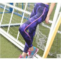 长裤显瘦七分裤修身紧身裤女士不规则印花侧边贴条专业运动裤弹力透气贴身