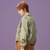 【1件2.5折到手价:74.8】美特斯邦威刺绣夹克女新款文艺减龄ins飞行员棒球外套春秋装
