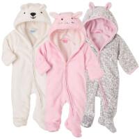 爬服秋冬女宝宝小兔子粉色哈衣外出婴儿摇粒绒豹纹连体衣