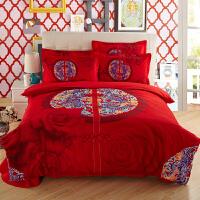 婚庆大红色纯棉四件套结婚床上用品双人1.8m2.0m被4床单