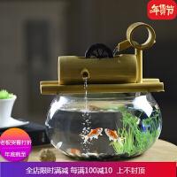竹子创意金鱼缸水族箱客厅小型迷你玻璃桌面办公室流水喷泉小摆件 自店营年货