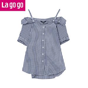 Lagogo/拉谷谷2018年夏新款时尚个性学院风一字肩衬衫HACC244M17