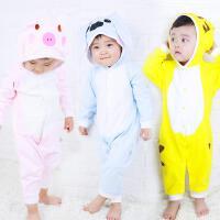 宝宝连体衣春秋婴儿连帽外出服动物哈衣爬服