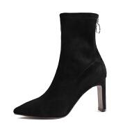 秋冬粗跟高跟鞋2018新款韩版时尚半靴马丁中筒靴单靴通勤尖头短靴 黑色 漆皮