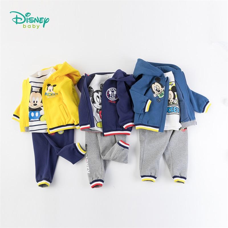 迪士尼Disney童装 男女童萌趣卡通套装 米老鼠印花连帽外套+纯棉T恤+简约休闲裤3件套193T936 外套套装(三件套)