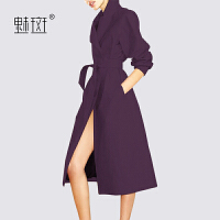 【新年狂欢到手价:443.7】魅斑修身显瘦女士风衣2019秋季新款时尚气质紫色洋气中长款外套潮