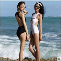 韩国性感三角泳衣女连体比基尼漏背显瘦游泳装遮肚日本学生泡温